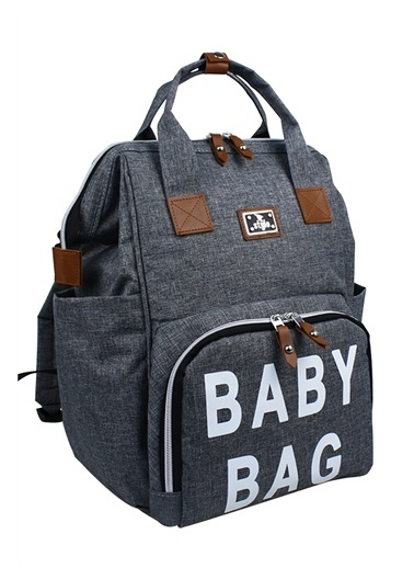 Stylo Roma Baby Bag Baskılı Anne Bebek Bakım Sırt Çantas Gri